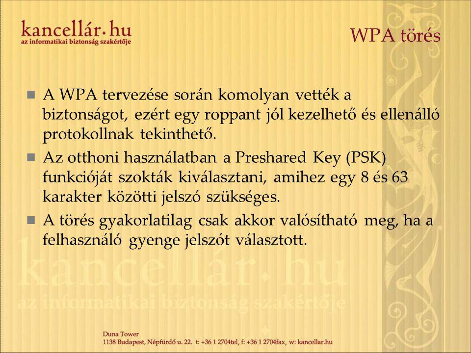 WPA törés A WPA tervezése során komolyan vették a biztonságot, ezért egy roppant jól kezelhető és ellenálló protokollnak tekinthető. Az otthoni haszná