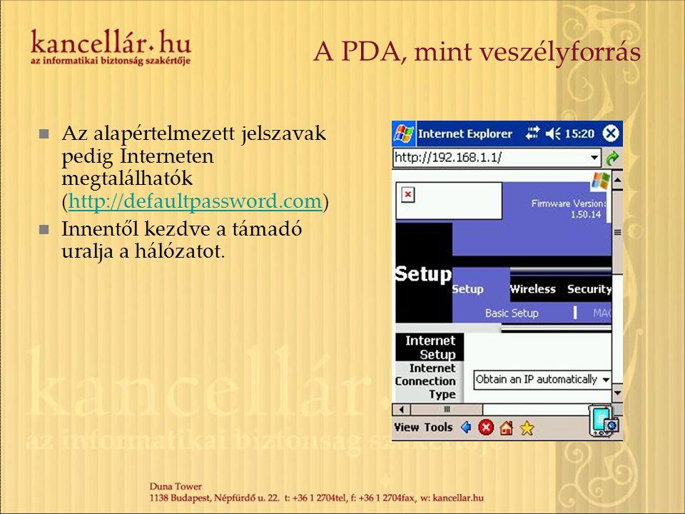 A PDA, mint veszélyforrás Az alapértelmezett jelszavak pedig Interneten megtalálhatók (http://defaultpassword.com)http://defaultpassword.com Innentől