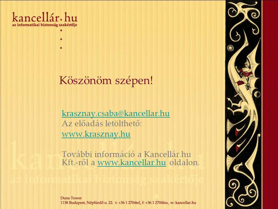 Köszönöm szépen! krasznay.csaba@kancellar.hu Az előadás letölthető: www.krasznay.hu További információ a Kancellár.hu Kft.-ről a www.kancellar.hu olda