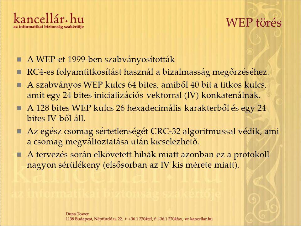 WEP törés A WEP-et 1999-ben szabványosították RC4-es folyamtitkosítást használ a bizalmasság megőrzéséhez. A szabványos WEP kulcs 64 bites, amiből 40