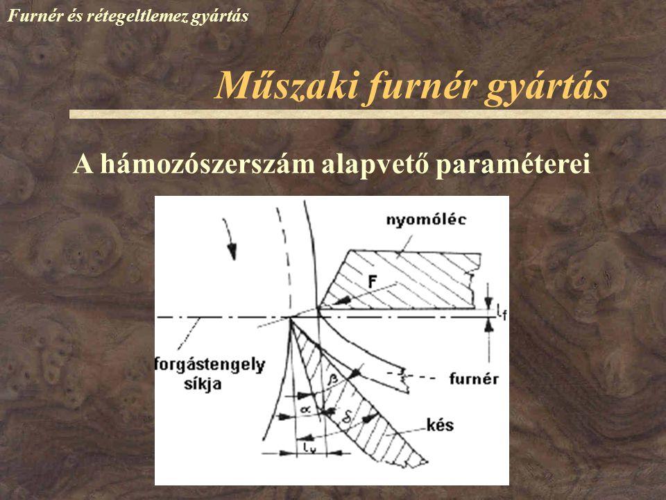 Furnér és rétegeltlemez gyártás A hámozószerszám alapvető paraméterei Műszaki furnér gyártás