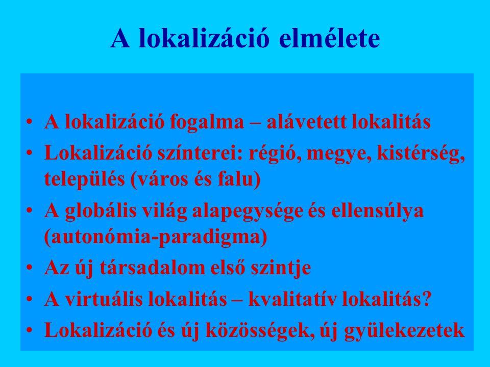 A lokalizáció elmélete A lokalizáció fogalma – alávetett lokalitás Lokalizáció színterei: régió, megye, kistérség, település (város és falu) A globáli