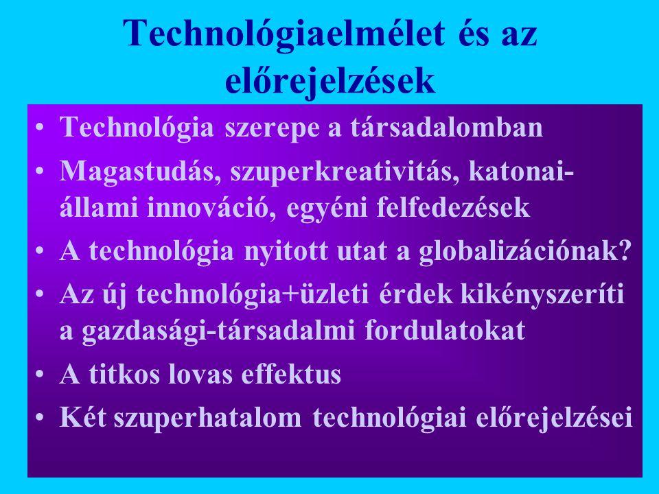 Technológiaelmélet és az előrejelzések Technológia szerepe a társadalomban Magastudás, szuperkreativitás, katonai- állami innováció, egyéni felfedezés