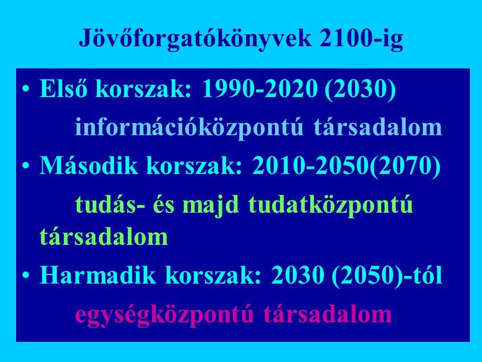 Jövőforgatókönyvek 2100-ig Első korszak: 1990-2020 (2030) információközpontú társadalom Második korszak: 2010-2050(2070) tudás- és majd tudatközpontú