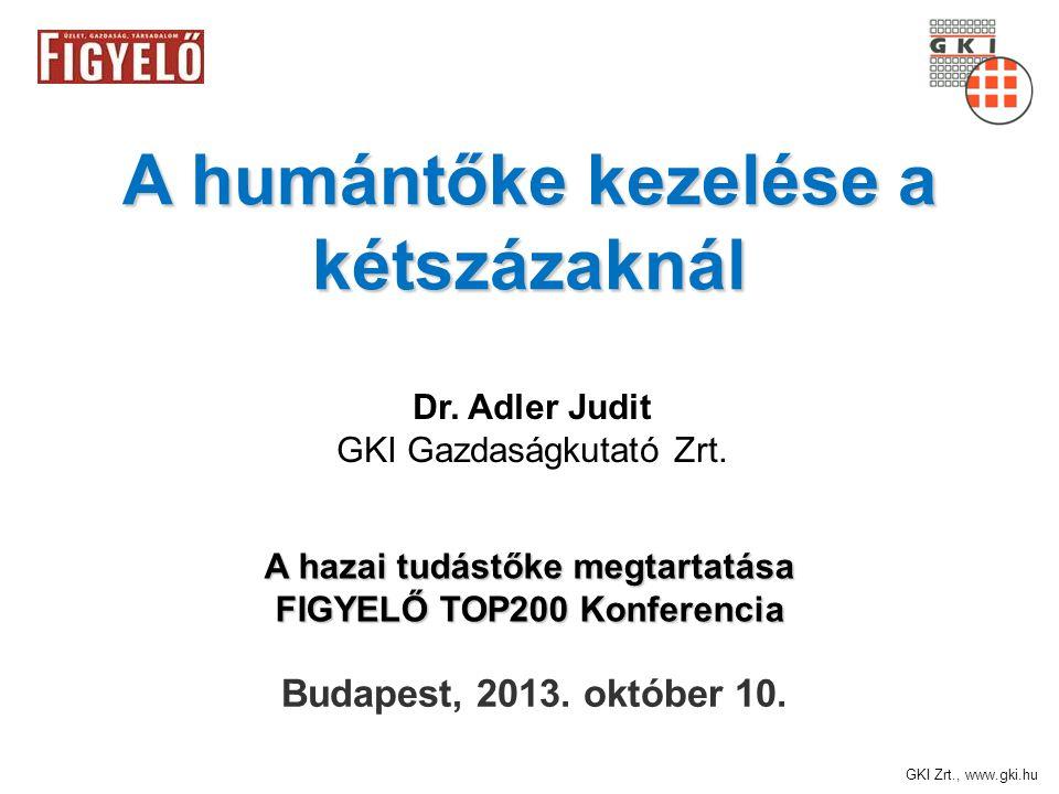 GKI Zrt., www.gki.hu A humántőke kezelése a kétszázaknál Budapest, 2013.