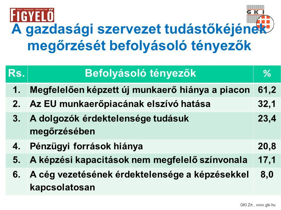 GKI Zrt., www.gki.hu A gazdasági szervezet tudástőkéjének megőrzését befolyásoló tényezők Rs.