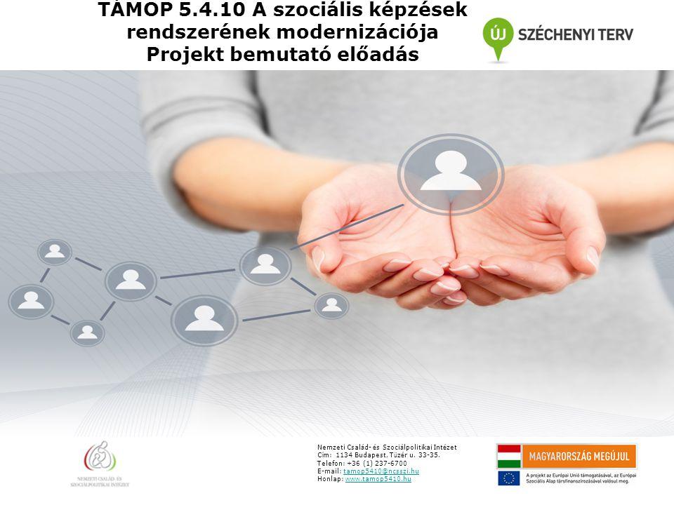 TÁMOP 5.4.10 A szociális képzések rendszerének modernizációja Projekt bemutató előadás Nemzeti Csal á d- é s Szoci á lpolitikai Int é zet C í m: 1134 Budapest, T ü z é r u.