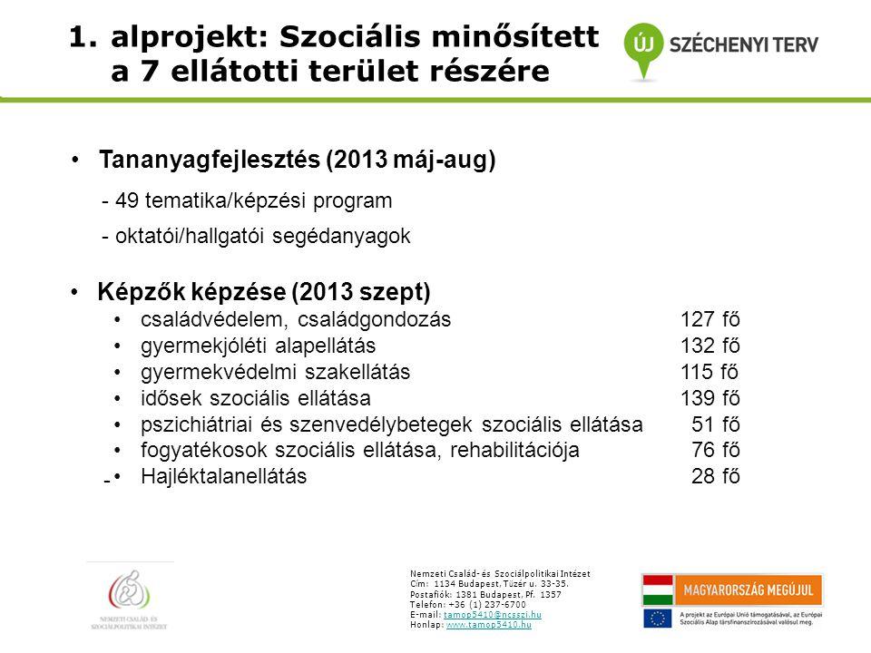 1.alprojekt: Szociális minősített tanfolyamok a 7 ellátotti terület részére Nemzeti Csal á d- é s Szoci á lpolitikai Int é zet C í m: 1134 Budapest, T ü z é r u.