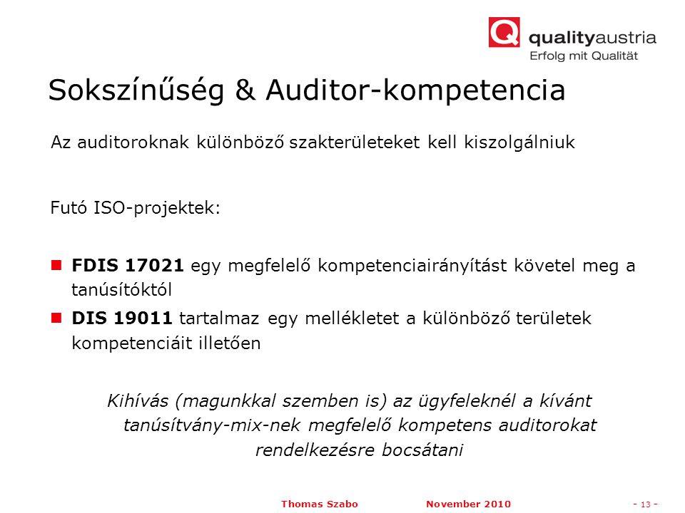 Thomas Szabo November 2010- 13 - Futó ISO-projektek: FDIS 17021 egy megfelelő kompetenciairányítást követel meg a tanúsítóktól DIS 19011 tartalmaz egy mellékletet a különböző területek kompetenciáit illetően Kihívás (magunkkal szemben is) az ügyfeleknél a kívánt tanúsítvány-mix-nek megfelelő kompetens auditorokat rendelkezésre bocsátani Az auditoroknak különböző szakterületeket kell kiszolgálniuk Sokszínűség & Auditor-kompetencia
