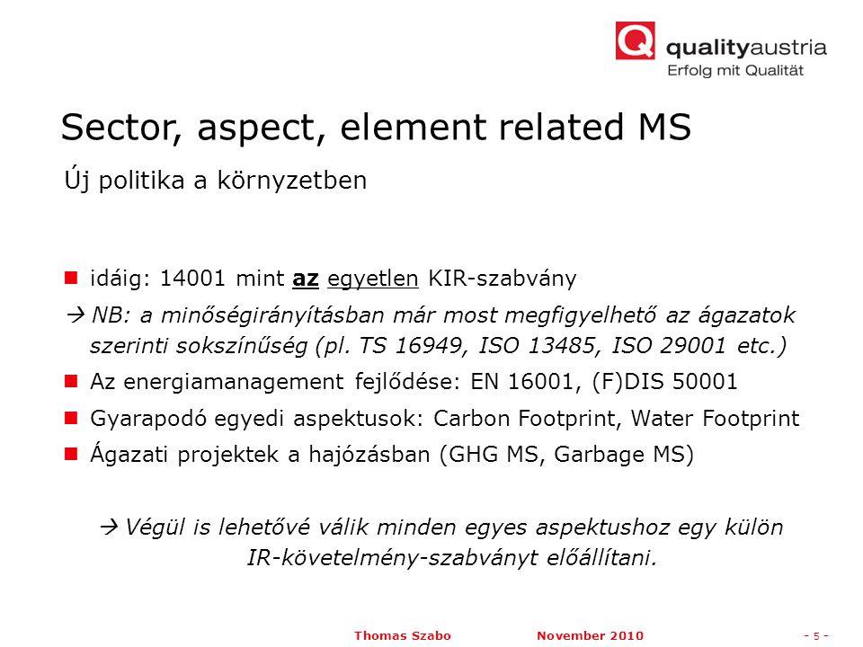 Thomas Szabo November 2010- 5 - idáig: 14001 mint az egyetlen KIR-szabvány  NB: a minőségirányításban már most megfigyelhető az ágazatok szerinti sokszínűség (pl.