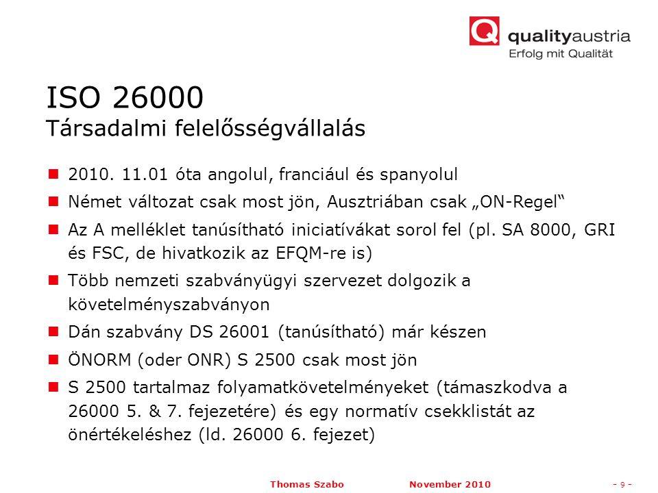 Thomas Szabo November 2010- 10 - ISO 31000 – általános irányelvek a kockázatmenedzsmenthez  01.02.2010 óta németül ÖNORM-ként ISO Guide 73 Kockázatfogalmak (jelenleg csak angolul) ISO/IEC 31010 – tartalmaz kockázatértékelési módszereket (jelenleg csak angolul) ONR 49000ff január óta az ISO 31000-hez igazítva  A kockázatmenedzsment aktuális téma a válságban.