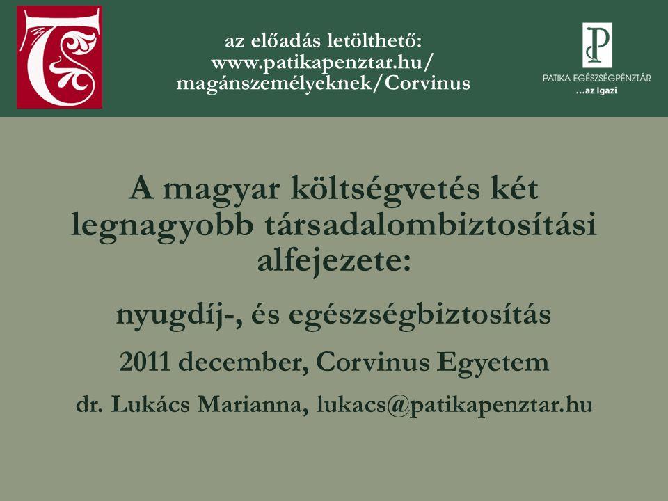 A magyar költségvetés két legnagyobb társadalombiztosítási alfejezete: nyugdíj-, és egészségbiztosítás 2011 december, Corvinus Egyetem dr.
