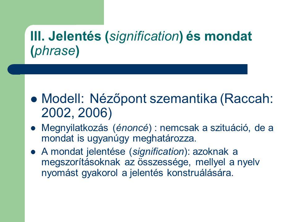 III. Jelentés (signification) és mondat (phrase) Modell: Nézőpont szemantika (Raccah: 2002, 2006) Megnyilatkozás (énoncé) : nemcsak a szituáció, de a