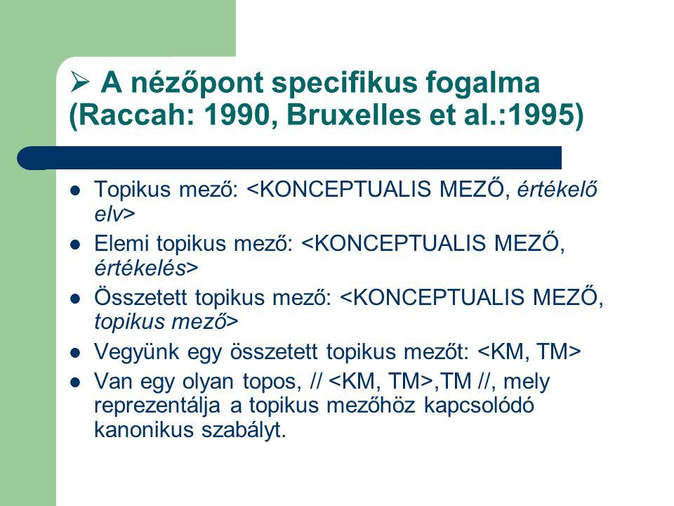  A nézőpont specifikus fogalma (Raccah: 1990, Bruxelles et al.:1995) Topikus mező: Elemi topikus mező: Összetett topikus mező: Vegyünk egy összetett topikus mezőt: Van egy olyan topos, //,TM //, mely reprezentálja a topikus mezőhöz kapcsolódó kanonikus szabályt.