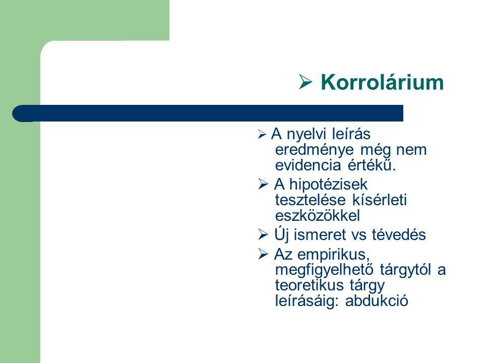  Korrolárium  A nyelvi leírás eredménye még nem evidencia értékű.  A hipotézisek tesztelése kísérleti eszközökkel  Új ismeret vs tévedés  Az empi