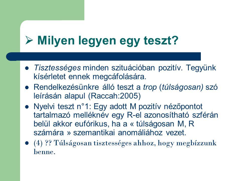  Milyen legyen egy teszt? Tisztességes minden szituációban pozitív. Tegyünk kísérletet ennek megcáfolására. Rendelkezésünkre álló teszt a trop (túlsá