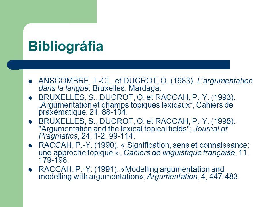 Bibliográfia ANSCOMBRE, J.-CL. et DUCROT, O. (1983). L'argumentation dans la langue, Bruxelles, Mardaga. BRUXELLES, S., DUCROT, O. et RACCAH, P.-Y. (1