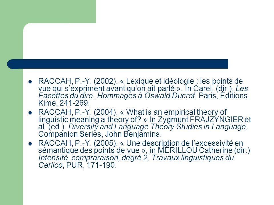 RACCAH, P.-Y. (2002). « Lexique et idéologie : les points de vue qui s'expriment avant qu'on ait parlé ». In Carel, (dir.), Les Facettes du dire. Homm