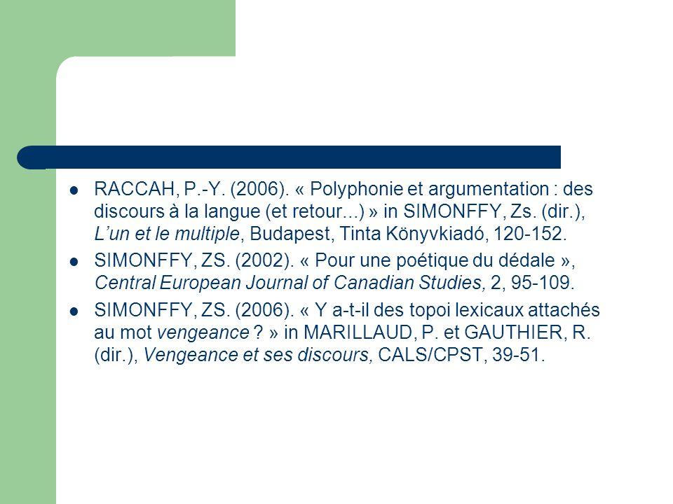 RACCAH, P.-Y. (2006). « Polyphonie et argumentation : des discours à la langue (et retour...) » in SIMONFFY, Zs. (dir.), L'un et le multiple, Budapest