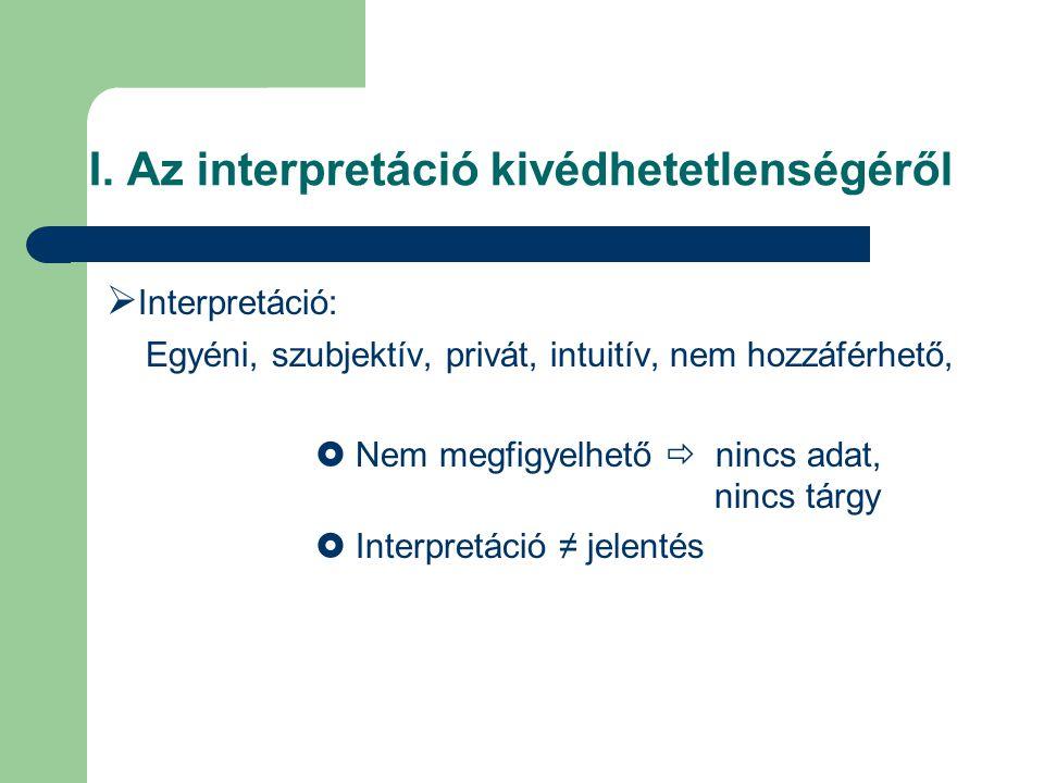 I. Az interpretáció kivédhetetlenségéről  Interpretáció: Egyéni, szubjektív, privát, intuitív, nem hozzáférhető,  Nem megfigyelhető  nincs adat, ni