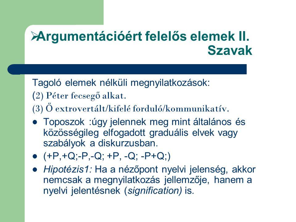  Argumentációért felelős elemek II. Szavak Tagoló elemek nélküli megnyilatkozások: ( 2) Péter fecseg ő alkat. (3) Ő extrovertált/kifelé forduló/kommu