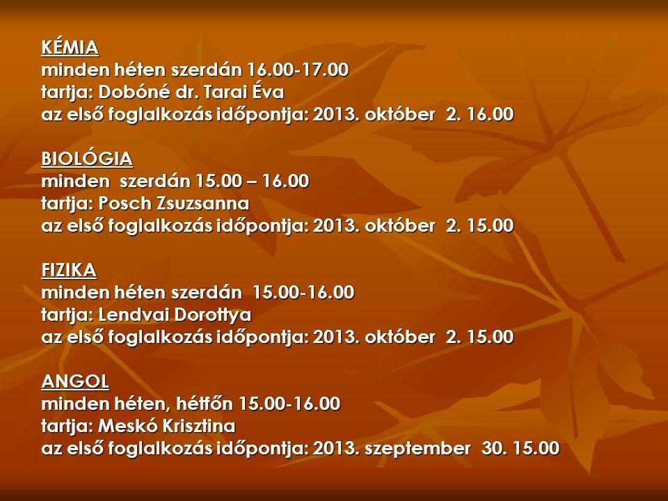 KÉMIA minden héten szerdán 16.00-17.00 tartja: Dobóné dr.
