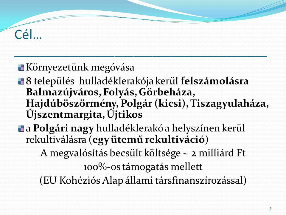 Cél… ________________________________________ Környezetünk megóvása 8 település hulladéklerakója kerül felszámolásra Balmazújváros, Folyás, Görbeháza,