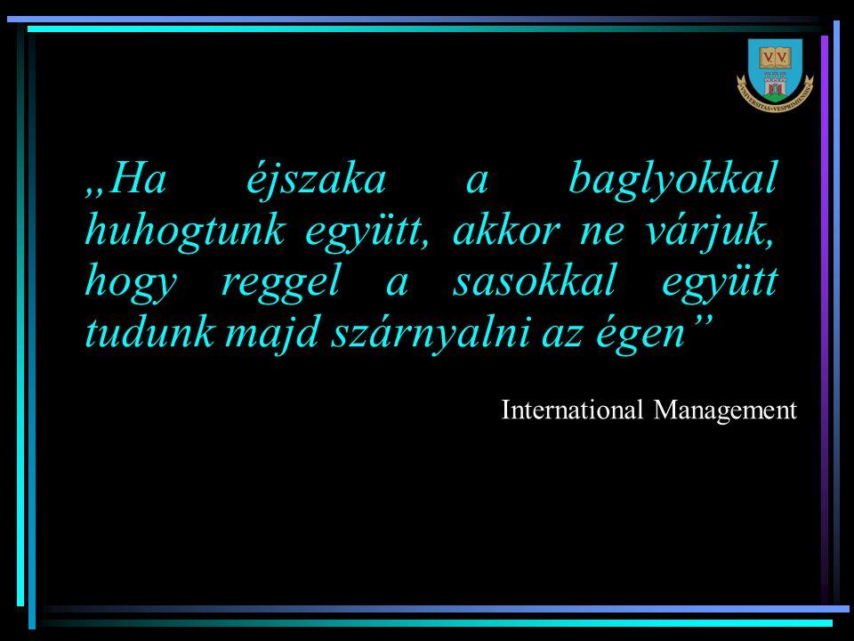 """""""Ha éjszaka a baglyokkal huhogtunk együtt, akkor ne várjuk, hogy reggel a sasokkal együtt tudunk majd szárnyalni az égen International Management"""