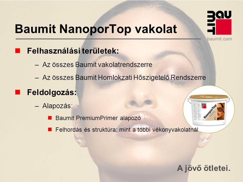 A jövő ötletei. Baumit NanoporTop vakolat Felhasználási területek: –Az összes Baumit vakolatrendszerre –Az összes Baumit Homlokzati Hőszigetelő Rendsz