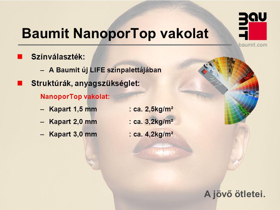 A jövő ötletei. Baumit NanoporTop vakolat Színválaszték: –A Baumit új LIFE színpalettájában Struktúrák, anyagszükséglet: NanoporTop vakolat: –Kapart 1