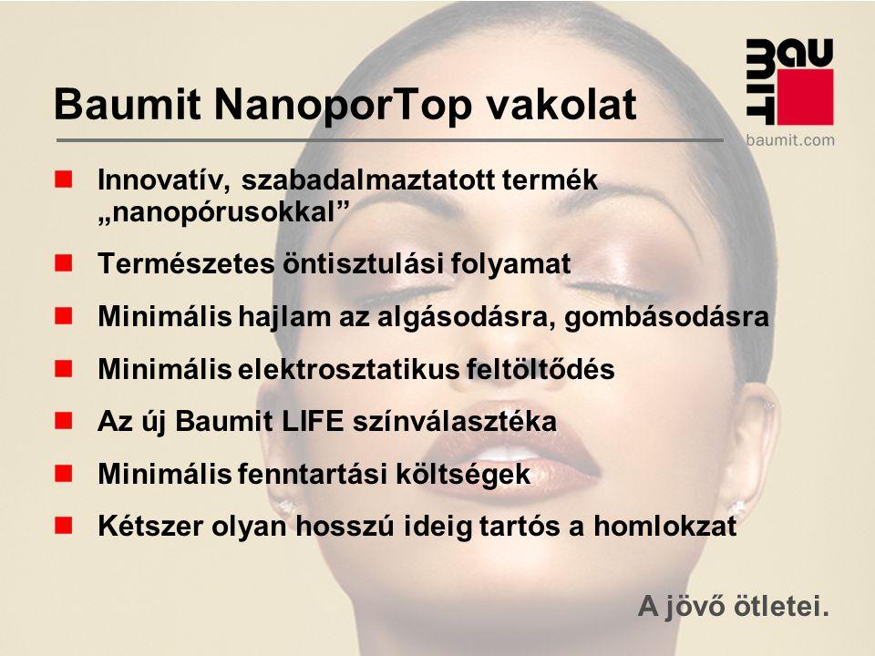 """A jövő ötletei. Baumit NanoporTop vakolat Innovatív, szabadalmaztatott termék """"nanopórusokkal"""" Természetes öntisztulási folyamat Minimális hajlam az a"""