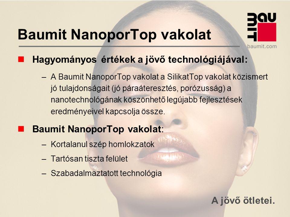 A jövő ötletei. Baumit NanoporTop vakolat Hagyományos értékek a jövő technológiájával: –A Baumit NanoporTop vakolat a SilikatTop vakolat közismert jó