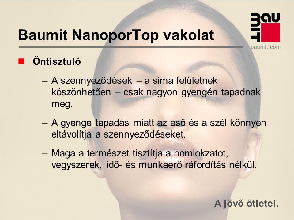 A jövő ötletei. Baumit NanoporTop vakolat Öntisztuló –A szennyeződések – a sima felületnek köszönhetően – csak nagyon gyengén tapadnak meg. –A gyenge