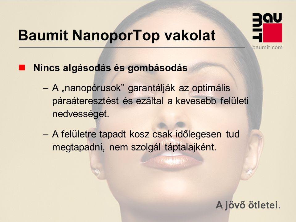 """A jövő ötletei. Baumit NanoporTop vakolat Nincs algásodás és gombásodás –A """"nanopórusok"""" garantálják az optimális páraáteresztést és ezáltal a keveseb"""