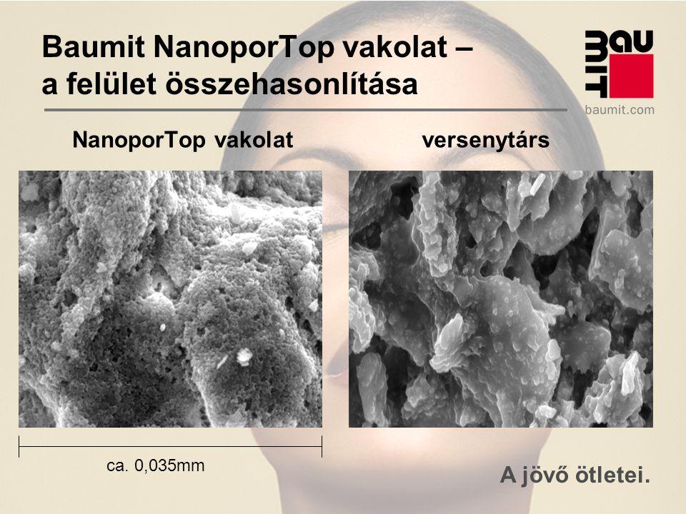 A jövő ötletei. Baumit NanoporTop vakolat – a felület összehasonlítása NanoporTop vakolat versenytárs ca. 0,035mm