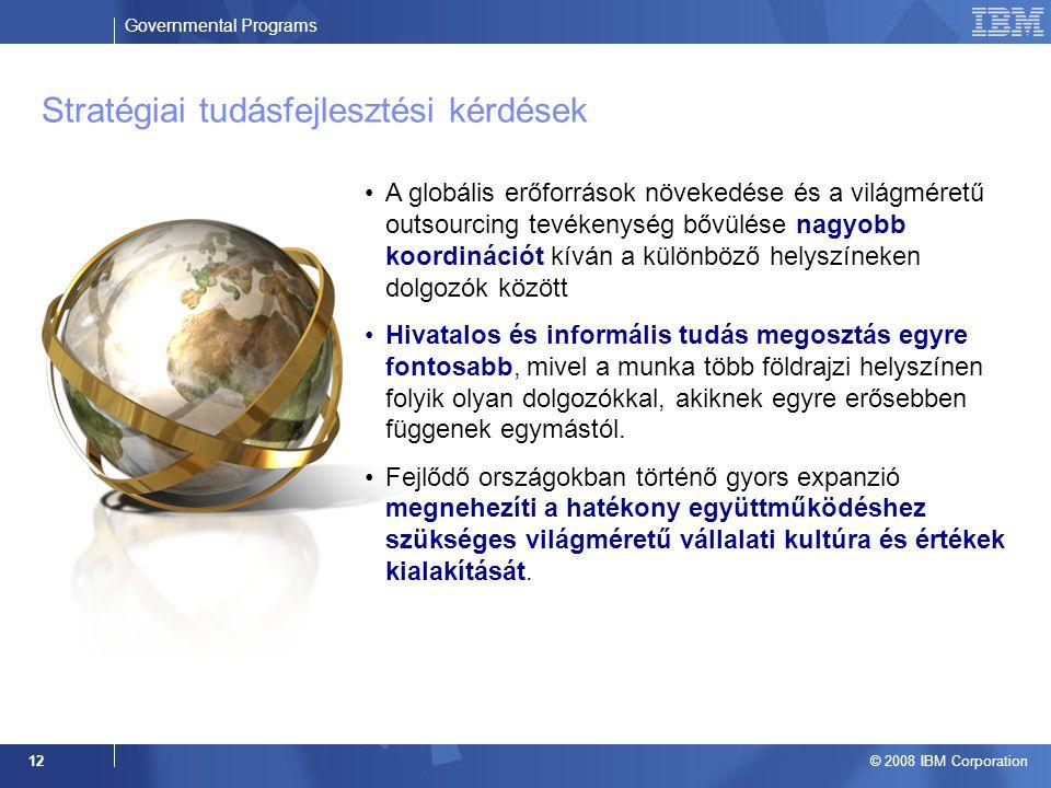 Governmental Programs © 2008 IBM Corporation 12 A globális erőforrások növekedése és a világméretű outsourcing tevékenység bővülése nagyobb koordinációt kíván a különböző helyszíneken dolgozók között Hivatalos és informális tudás megosztás egyre fontosabb, mivel a munka több földrajzi helyszínen folyik olyan dolgozókkal, akiknek egyre erősebben függenek egymástól.