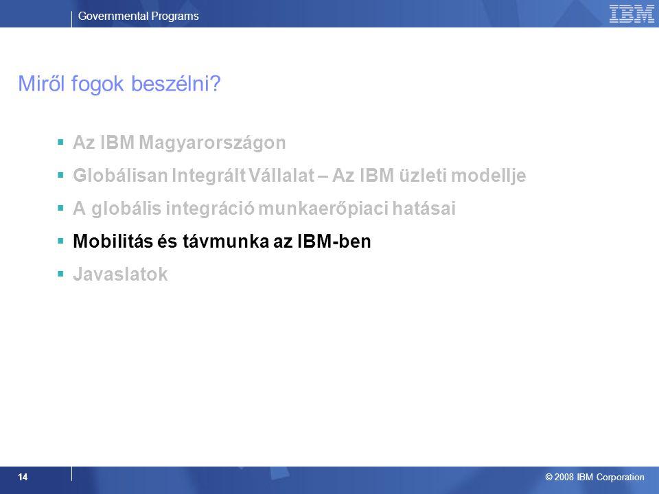 Governmental Programs © 2008 IBM Corporation 14 Miről fogok beszélni.