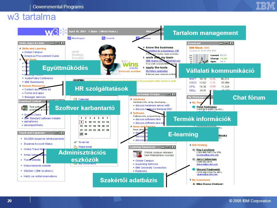 Governmental Programs © 2008 IBM Corporation 20 Chat fórum Tartalom management HR szolgáltatások E-learning Szakértői adatbázis Együttműködés Adminisztrációs eszközök Szoftver karbantartó Vállalati kommunikáció w3 tartalma Termék információk