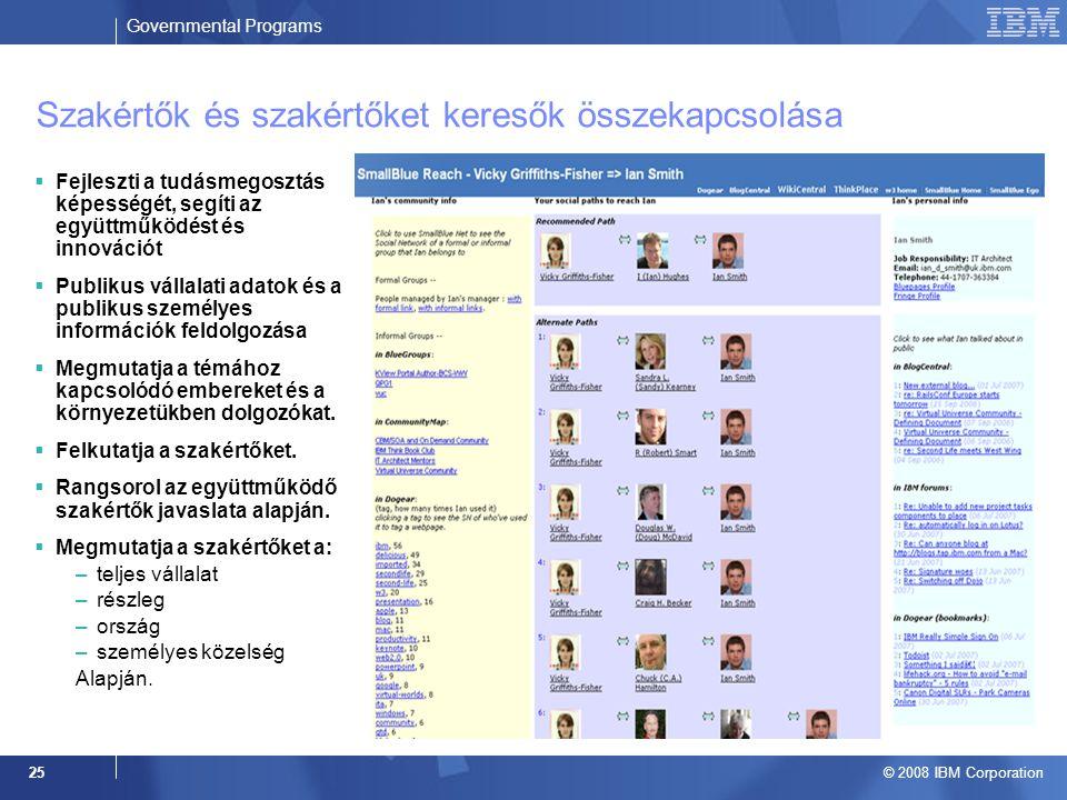 Governmental Programs © 2008 IBM Corporation 25 Szakértők és szakértőket keresők összekapcsolása  Fejleszti a tudásmegosztás képességét, segíti az együttműködést és innovációt  Publikus vállalati adatok és a publikus személyes információk feldolgozása  Megmutatja a témához kapcsolódó embereket és a környezetükben dolgozókat.