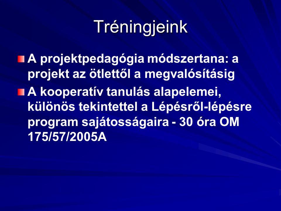 Tréningjeink A projektpedagógia módszertana: a projekt az ötlettől a megvalósításig A kooperatív tanulás alapelemei, különös tekintettel a Lépésről-lépésre program sajátosságaira - 30 óra OM 175/57/2005A