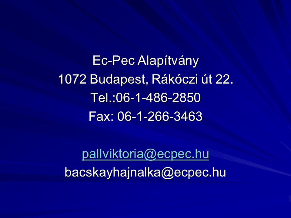 Ec-Pec Alapítvány 1072 Budapest, Rákóczi út 22. Tel.:06-1-486-2850 Fax: 06-1-266-3463 pallviktoria@ecpec.hu bacskayhajnalka@ecpec.hu