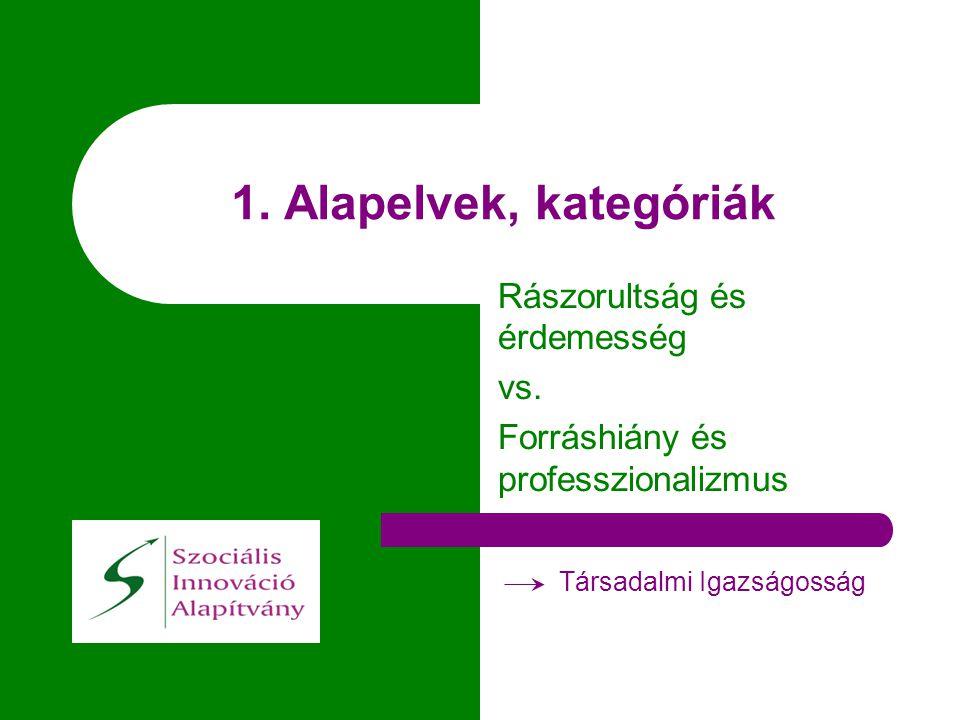 1. Alapelvek, kategóriák Rászorultság és érdemesség vs. Forráshiány és professzionalizmus Társadalmi Igazságosság