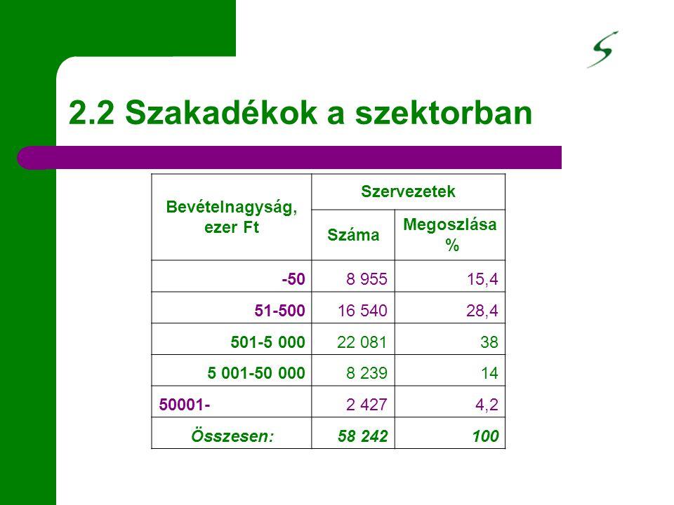 2.2 Szakadékok a szektorban Bevételnagyság, ezer Ft Szervezetek Száma Megoszlása % -508 95515,4 51-50016 54028,4 501-5 00022 08138 5 001-50 0008 23914
