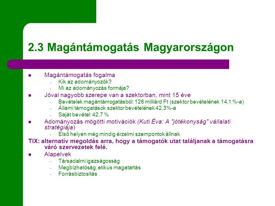 2.3 Magántámogatás Magyarországon Magántámogatás fogalma - Kik az adományozók? - Mi az adományozás formája? Jóval nagyobb szerepe van a szektorban, mi