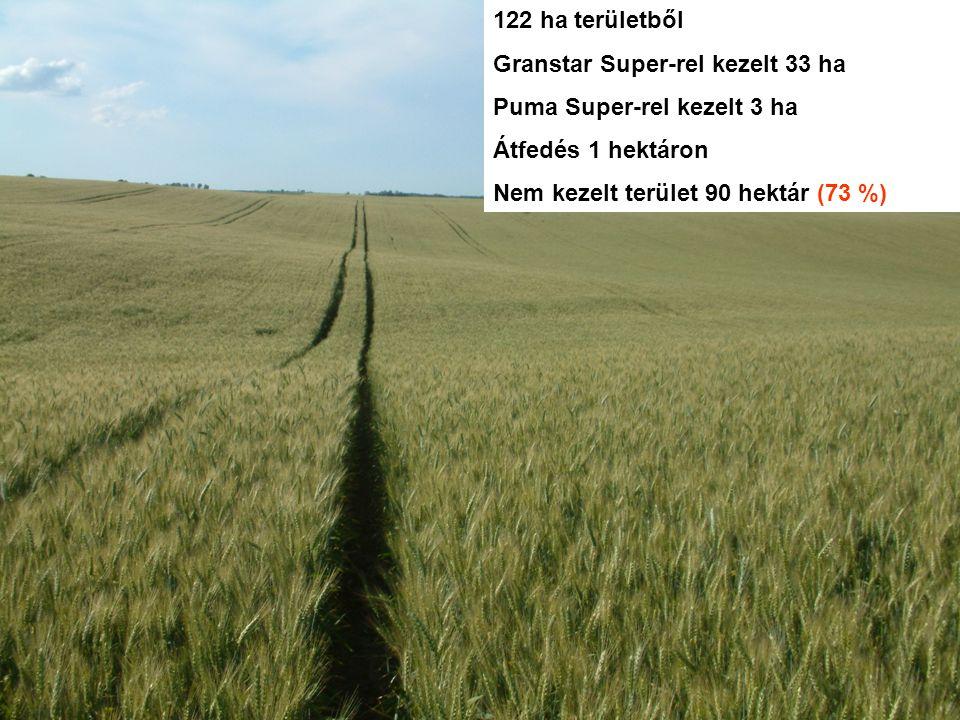 122 ha területből Granstar Super-rel kezelt 33 ha Puma Super-rel kezelt 3 ha Átfedés 1 hektáron Nem kezelt terület 90 hektár (73 %)