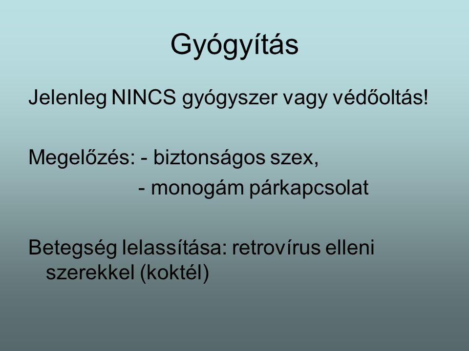 Gyógyítás Jelenleg NINCS gyógyszer vagy védőoltás.