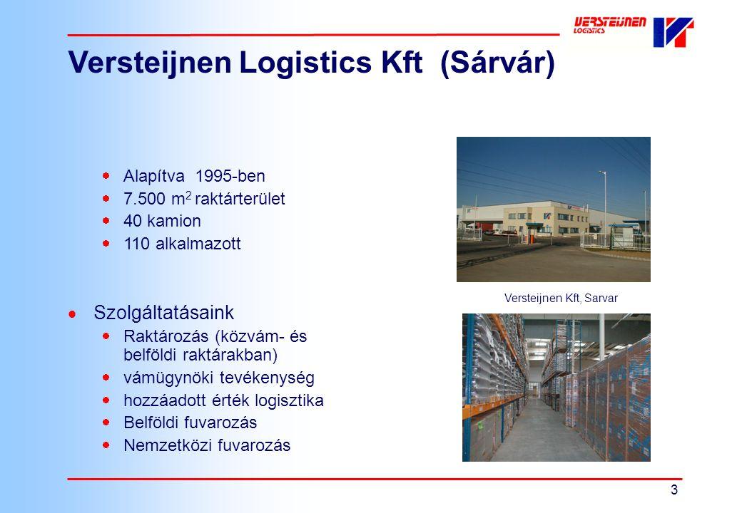 3 Versteijnen Logistics Kft (Sárvár)  Alapítva 1995-ben  7.500 m 2 raktárterület  40 kamion  110 alkalmazott  Szolgáltatásaink  Raktározás (közv