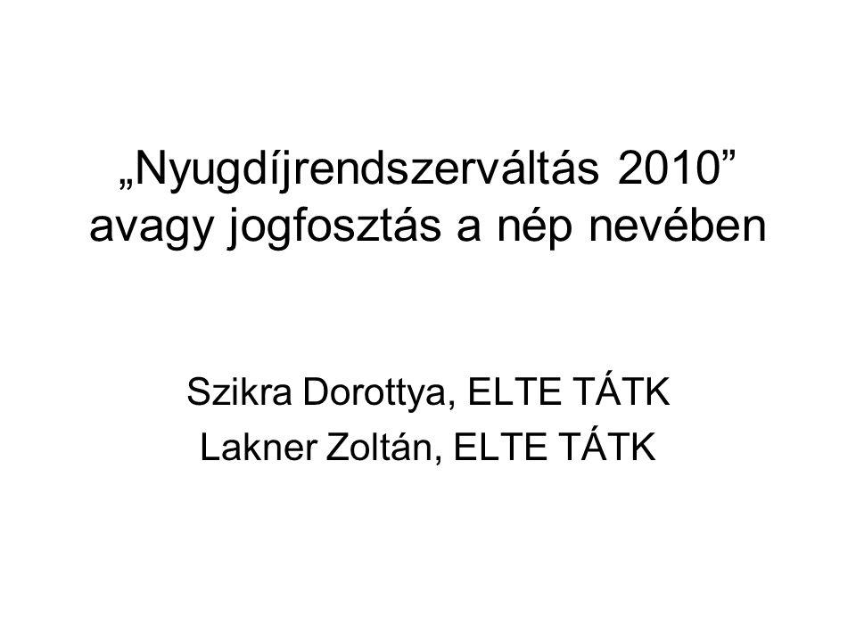 """""""Nyugdíjrendszerváltás 2010 avagy jogfosztás a nép nevében Szikra Dorottya, ELTE TÁTK Lakner Zoltán, ELTE TÁTK"""