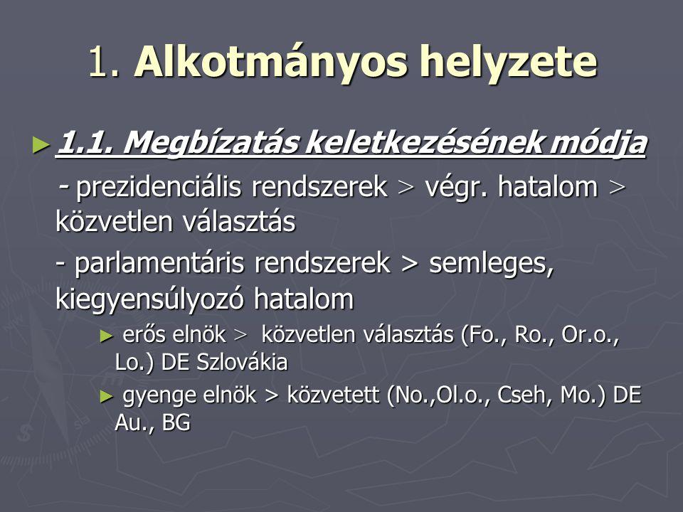 1.Alkotmányos helyzete ► 1.1. Megbízatás keletkezésének módja - prezidenciális rendszerek > végr.