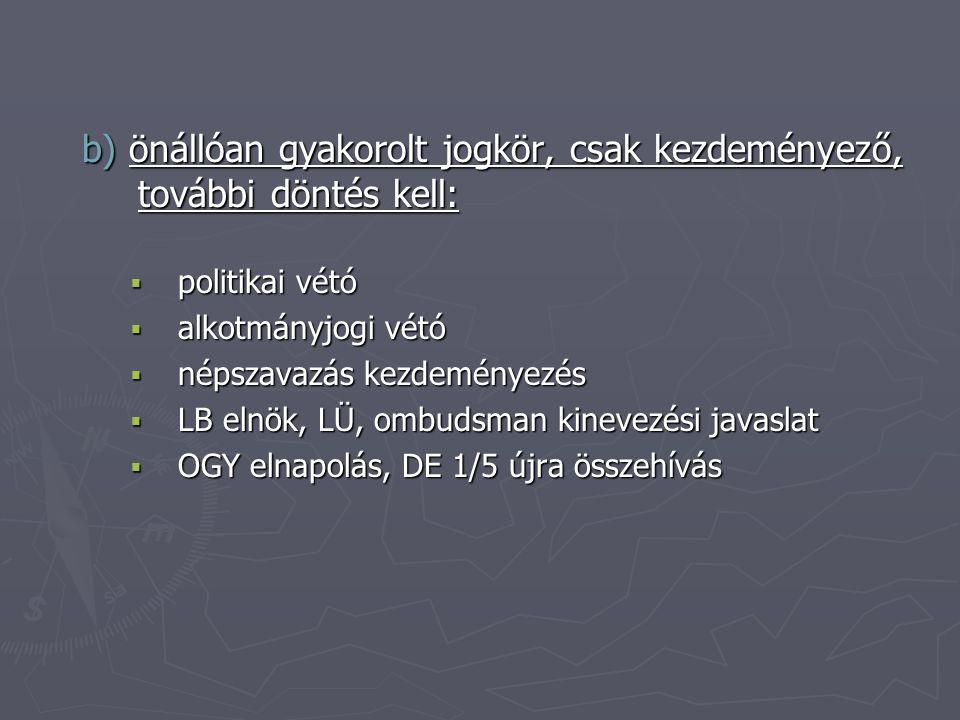 b) önállóan gyakorolt jogkör, csak kezdeményező, további döntés kell:  politikai vétó  alkotmányjogi vétó  népszavazás kezdeményezés  LB elnök, LÜ, ombudsman kinevezési javaslat  OGY elnapolás, DE 1/5 újra összehívás